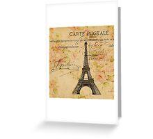 vintage floral paris eiffel tower fashion Greeting Card