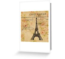 vintage floral paris eiffel tower fashion Greeting Card