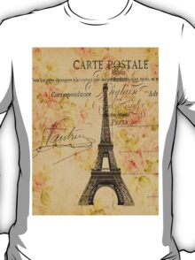 vintage floral paris eiffel tower fashion T-Shirt