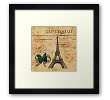 vintage butterfly paris eiffel tower fashion Framed Print