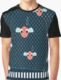 Cat with a many fish on sea background, vector Graphic T-Shirt