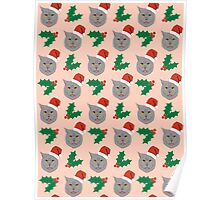 Christmas Cat mistletoe and holly cute cat pattern for pet lovers and cat ladies Poster