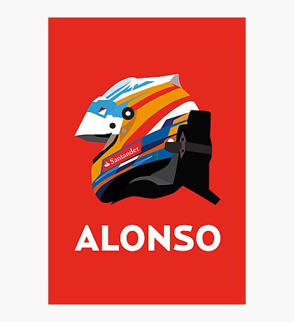 Fernando Alonso 2013 Season Helmet  Photographic Print