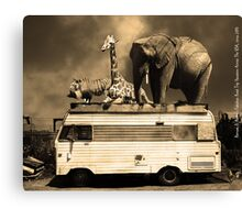 Barnum and Baileys Fabulous Road Trip Vacation Across The USA Circa 2013 5D22705 sepia with text Canvas Print