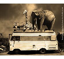 Barnum and Baileys Fabulous Road Trip Vacation Across The USA Circa 2013 5D22705 sepia with text Photographic Print