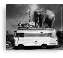 Barnum and Baileys Fabulous Road Trip Vacation Across The USA Circa 2013 5D22705 black and white with text Canvas Print