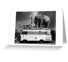 Barnum and Baileys Fabulous Road Trip Vacation Across The USA Circa 2013 5D22705 black and white with text Greeting Card