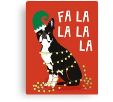 Cute Dog Christmas Gift santa pug boston terrier Canvas Print