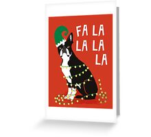 Cute Dog Christmas Gift santa pug boston terrier Greeting Card