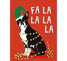 Cute Dog Christmas Gift santa pug boston terrier Photographic Print