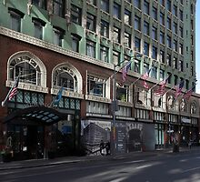 Palomar Hotel and Old Navy in Downtown San Francisco - 5D19800 by Wingsdomain Art and Photography