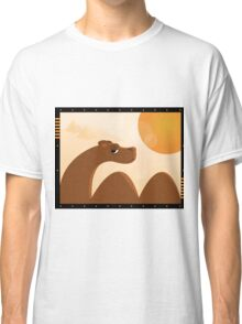 camel in desert with sun and pyramid Classic T-Shirt
