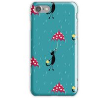 seamless pattern with cat fly with red umbrella iPhone Case/Skin