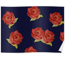 Stylish vintage floral print - red roses  Poster