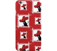seamless pattern with friendly cartoon cat with ball of heart iPhone Case/Skin