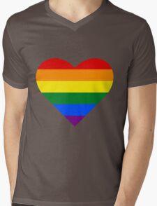 Gay Pride Heart Mens V-Neck T-Shirt