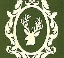 Christmas Card - reindeer - olive by MrsTreefrog