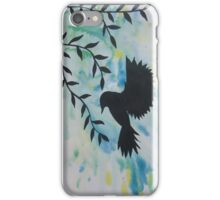 blue green yellow bird watercolor and acrylic modern art iPhone Case/Skin