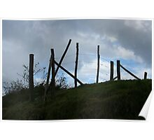 Wood and Barbed Wire Fence on a Hill Poster