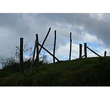 Wood and Barbed Wire Fence on a Hill Photographic Print