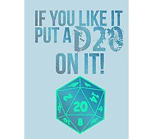 D20 Geeky Awesome Typography Tee & Print Photographic Print