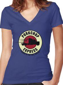 Planet Porkchop Express Women's Fitted V-Neck T-Shirt
