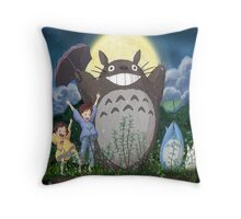 Totoro gang funny  Throw Pillow