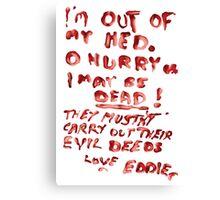 Eddie's Note to Dr. Scott Canvas Print