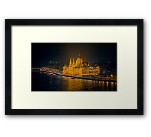 Hungarian Parliament Night Color Framed Print
