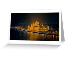 Hungarian Parliament Night Color Greeting Card