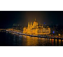 Hungarian Parliament Night Color Photographic Print