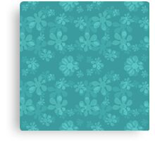 blue seamless pattern with abstract flowers Canvas Print
