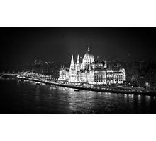 Hungarian Parliament Night BW Photographic Print