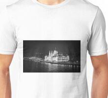 Hungarian Parliament Night BW Unisex T-Shirt