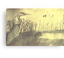 Blue Heron On Riverbank Canvas Print