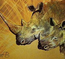 """Bush Baby"" Portrait of African Rhino by Susan Bergstrom"