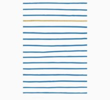 Blue French Paris Stripe Pattern with Gold Kids Tee