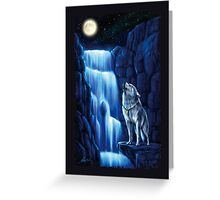 Fall wolf under the moon Greeting Card