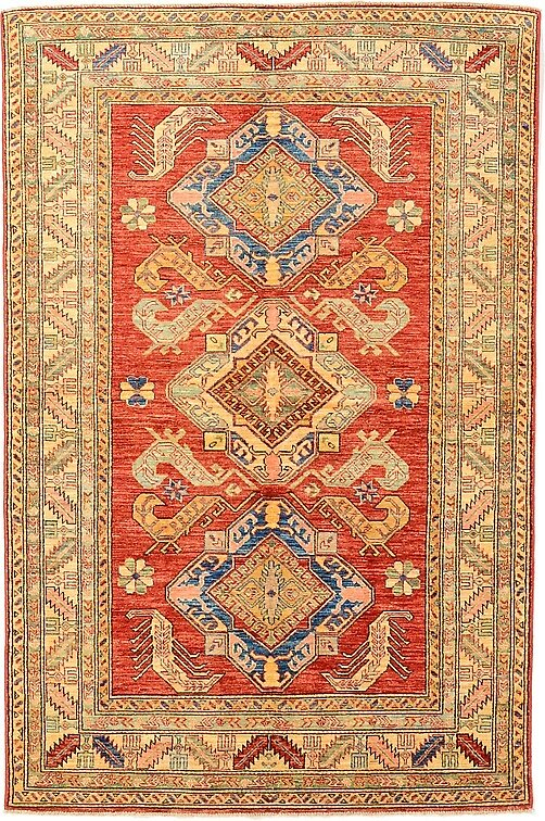 4' 11 x 7' 4 Geometric Kazak Oriental Rug by nathanwoo1019