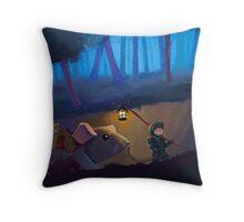 The little traveler Throw Pillow
