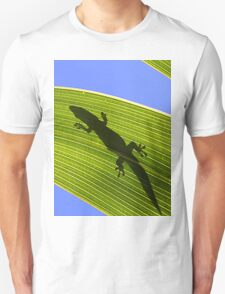 Silhouette Of A Phelsuma Day Gecko On A Palm Leaf. T-Shirt