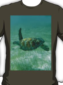 Green Turtle Swimming In The Tropical Caribbean Ocean. T-Shirt
