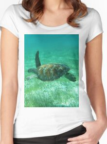 Green Turtle Swimming In The Tropical Caribbean Ocean. Women's Fitted Scoop T-Shirt