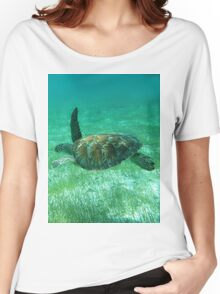 Green Turtle Swimming In The Tropical Caribbean Ocean. Women's Relaxed Fit T-Shirt