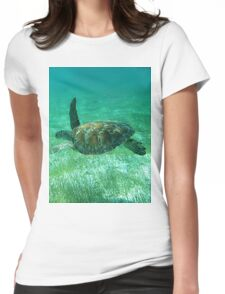 Green Turtle Swimming In The Tropical Caribbean Ocean. Womens Fitted T-Shirt