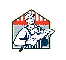 Fishmonger Holding Fish Retro by patrimonio