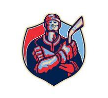 Ice Hockey Player Front With Stick Retro by patrimonio