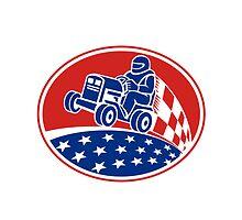 Ride On Lawn Mower Racing Retro by patrimonio