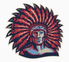 Native American Indian Chief Warrior Retro T-Shirt