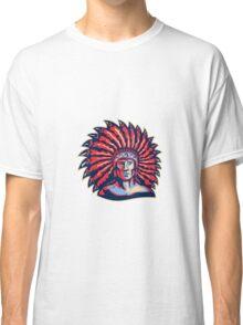 Native American Indian Chief Warrior Retro Classic T-Shirt